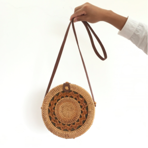 Bali bag roundie braid rotan bruin
