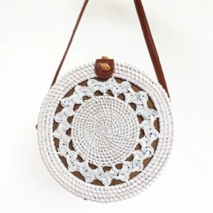 Bali bag roundie braid rotan wit