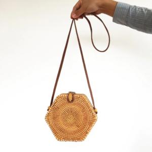 Bali bag zeshoek rotan bruin fromeasttowest